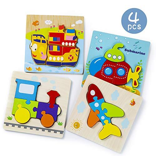 Juguetes Bebes, 4 Pack Puzzles de Madera, 3D Dibujo de Animal Colorido, Montessori Shapes de Animal, Juegos Educativos para niños 1 2 3 4 5 6 años, Regalo Cumpleaños (B)