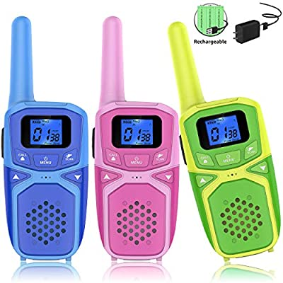 Walkie Talkies for Kids 3 Pack, Rechargeable Long Range Two Way Radio Kids Toys with Batteries and Charger, Outdoor Camping Hiking Birthday Party Xmas Gifts for Kids Girls Boys 3-12 Years Old from Wolkier