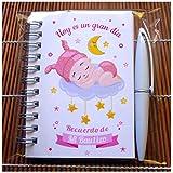 Recuerdos, Detalles y Regalos Originales Para Invitados Bautizo Niña - Baby Shower - Libretas Bautizos con Mini Bolígrafo - Pack 30 Unidades - ¡Todo un Acierto! Gustará a Todos