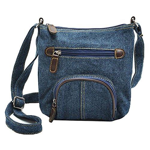 Donalworld Women Mini Denim Cross Body Bag Messenger Shoulder Bag Dkblue