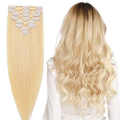 Extension con clip in capelli veri veri umani a doppio tiraggio, extension con clip su 8 pezzi, spessore di base naturale (45,7 cm 80 g #613 biondo decolorante)