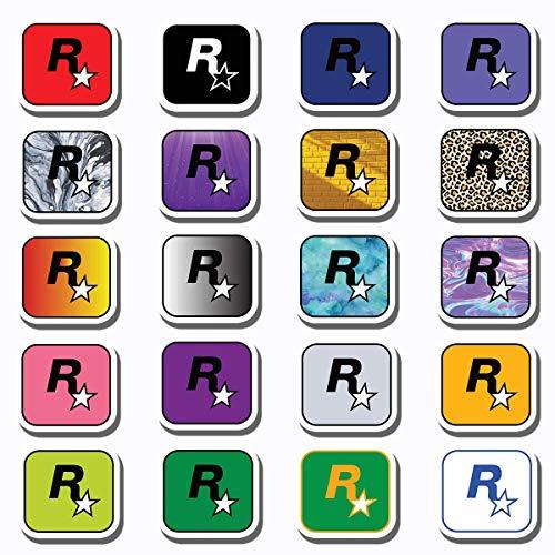 20 PCS Stickers Pack Rockstar Aesthetic Games Vinyl Colorful Waterproof for Water Bottle Laptop Bumper Car Bike Luggage Guitar Skateboard