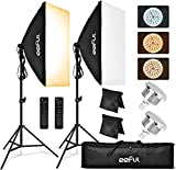 LED Softbox Photography Lighting Kit - 50 X 70 cm Continuous Studio Soft Box Light Equipment with Remote Stand 85W Bulb 6000k SoftBox Light for Filming Photo Video