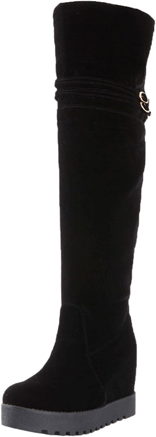 BIGTREE Knee High Boots Women Warm Faux Fur Strap Buckle Platform Black Increased Long Boots