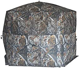 THUNDERBAY Gobbler Lodge 5-Side Hunting Blind, 4 Person Ground Blind for Deer Hunting, 300D Oxford Fabric Deer Blind, JX Hardwood Camo Pattern