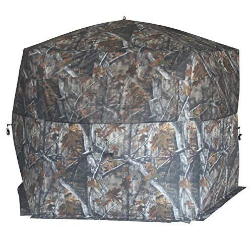 THUNDERBAY Gobbler Lodge 5-Side Hunting Blind, 4 Person Ground Blind for Deer Hunting, 300D Oxford Fabric Deer Blind, JX Hardwood Camo Pattern