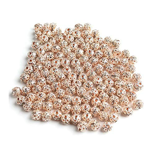 HONGTAI Metal Plated Crystal Rhinestone Ball Spacer Loose Beads Bracelet Necklace (Color : Rose Gold 8mm)