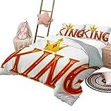 King Duvet Cover Set Impreso Royal King Quote en Letras mayúsculas con Corona y Formas de Diamante en Cuna Blanca Juego de Funda nórdica Vermilion y Amarillo con 2 Fundas de Almohada, tamaño Twin XL