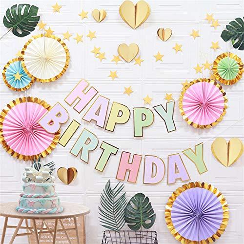 Viesap Cumpleaños Decoraciones, Decoración de la Fiesta, Happy Birthday Pancarta, Party Decoration Supplies para Chicas Chicos Adultos, Decoración de Abanicos de Papel Creativo,Party Decor Sin Globos.