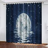 MXYHDZ Cortinas Dormitorio Opacas - Paisaje marino de luna llena azul Impresión 3D, Decoracion de Ventanas Salon Termicas Aisantes Frio y Calor - 150 x 166 cm para Oficina, Dormitorio habitación de lo