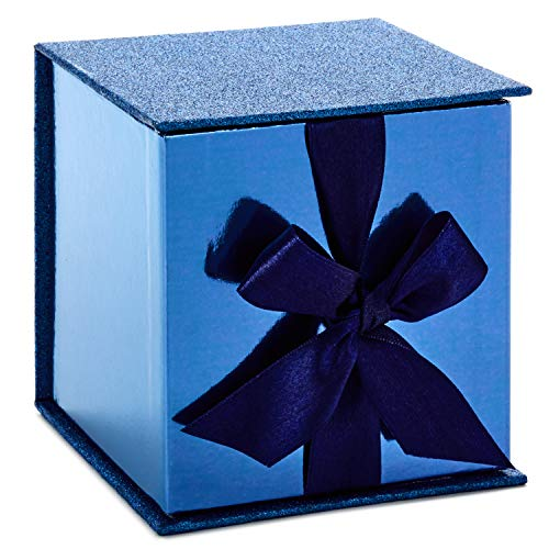 Hallmark Signature 4' Small Gift Box with Fill (Dark Blue Glitter) for Christmas, Hanukkah, Father's Day, Weddings, Graduations and More