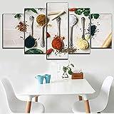Cuadro En Lienzo 5 Pieza Pintura En Lienzo Especias Polvo Cuchara Cocina Arte De La Pared 5 Piezas Imagen Impresión En Lienzo Imagen De Pared Decoración del Hogar 150X80Cm