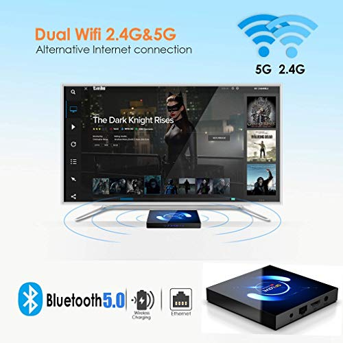 Android 10.0 TV Box, QPLOVE Q6【4G + 32G】 TV Android Box mit Tastatur, BT 5.0 Quad-Core H616 64 Bits, WiFi Double 2,4 G / 5 GHz, LAN 100M, 6K Smart TV Box
