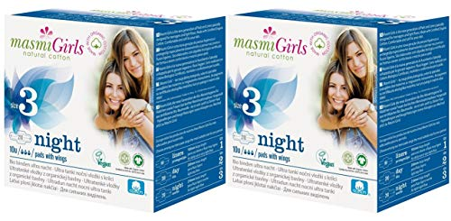 2 x 10 Organic Teen First Period Night Pads with Wings, Biodegradable,...
