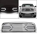 ECOTRIC Front Hood Bumper Grille Grill Replacement Shell Compatible with 2009-2012 Dodge Ram 1500 (Chrome w/Lights)