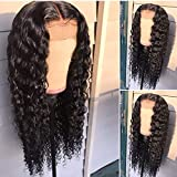 Helene Curly Wigs Glueless Lace Front Wigs Long Narural Curly High Density Synthetic Lace Wigs For Women With Baby Hair Natural Hairline Realistic Fiber Hair Wig Half Hand Tied 20inch