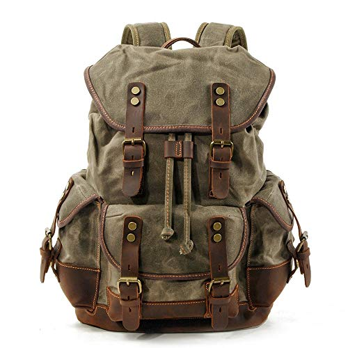 SWNN backpack Green Outdoor Backpack, Leisure Student Bag, Large Capacity Backpack, Leather Mountaineering Bag With Canvas Splicing (32 * 15 * 45cm)