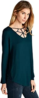 Women's Long Sleeve Hi-Low Knit Top with Strappy Neckline Details
