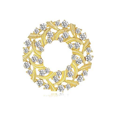 Nrpfell Broche de Hebilla de Bufanda de Corona de Flores de Mariposa de Diamantes de ImitacióN de Moda Clip de Bufanda de Corona de Ramo de Tres Anillos de Joyas para Mujer