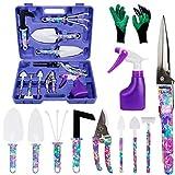 HANXIN 11 Stück Maurerkelle Handschuhen, Schere Hecke Anti-Rustspray und Box, Gartenhandwerkzeug für Fee, Violett