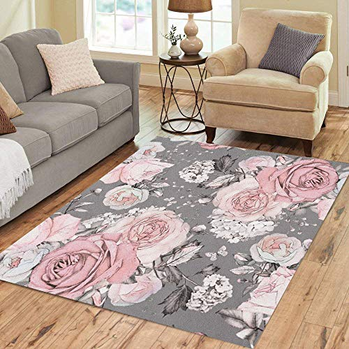 Pinbeam Area Rug Pink Flowers and Leaves on Gray Watercolor Floral Home Decor Floor Rug 3' x 5' Carpet