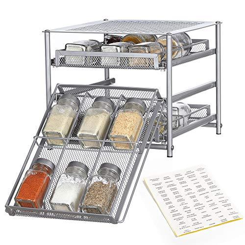 Nandae 3 Etagen Gewürzregal ausziehbarer Gewürzständer für 18 Gewürze Küchen Organizer Silber