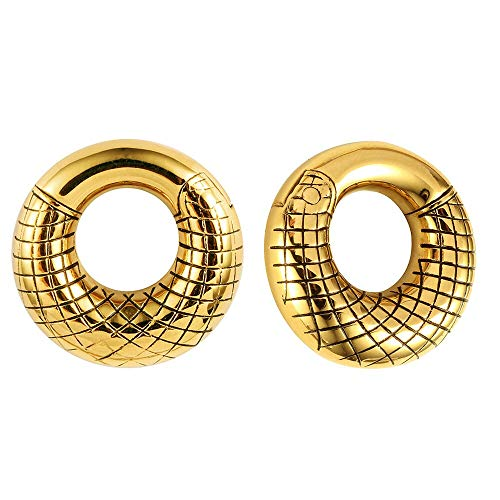 Casvort 2 PCS Round Gold Ear Hanger Weight Stainless Steel Ear Gauges Body Jewelry Piercing Plug Pair Selling 2g
