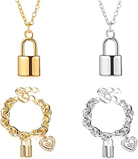 4 Piece Set Lock Necklace + Bracelet for Women Lock Chain Pendant Necklace for Women Gold Silver Set