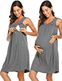 Ekouaer Post Delivery Nightgowns Women Hospital Breastfeeding Gown Dress (Gray, Large)