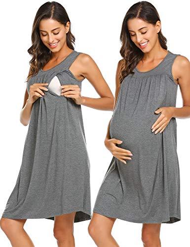 Ekouaer Feeding Night Dress Woman Pregnant Sleep Gown Soft Nursing Loungewear (Gray,