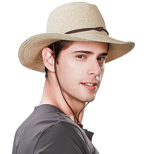 Comhats Comhats Westernhut Cowboy Stroh Hut formbare Krempe mit Kinnriemen beige