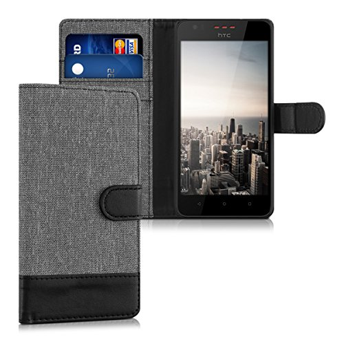 kwmobile HTC Desire 530 Hülle - Kunstleder Wallet Case für HTC Desire 530 mit Kartenfächern & Stand - Grau Schwarz