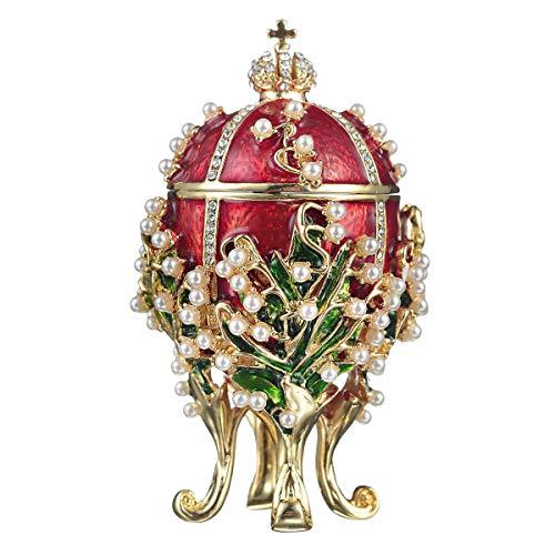 danila-souvenirs Style Fabergé Œuf Russe/boîte à Bijoux Lys de la vallée avec Couronne de l'empereur Russe et Fleurs 8,5 cm Rouge