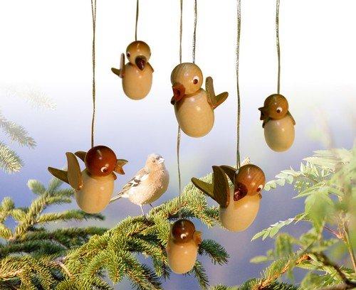 Baumbehang Vogel hängend, natur sortiert, 6 Stück 5cm NEU Strauchbehang Osterschmuck Ostern