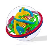 WETONG Maze Ball 3D Interactive Maze Game (12cm,4.7'') with 100 Challenging Barriers 3D Labyrinth Ball Puzzle Kids Toys Magical Brain Teasers Puzzle Ball, for Ages 9 and Up