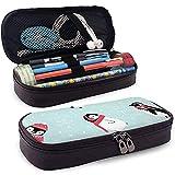 Estuche de cuero de PU, Penguin Blog, Estuche de marcador de almacenamiento de papel tapiz, Bolsa de maquillaje cosmético, Estuche de lápiz organizador de papelería