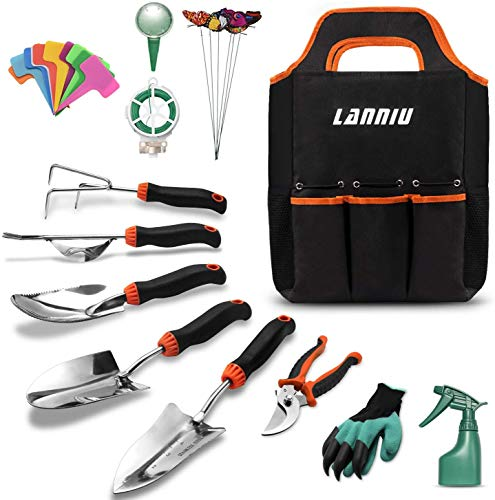 LANNIU Garden Tool Set, 27 Piece Stainless Steel Heavy Duty Gardening Tool Set, Gardening Tools for...