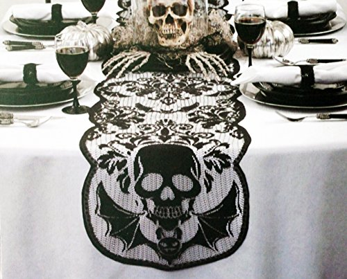 Halloween Scary Skull Lace Black Table Runner