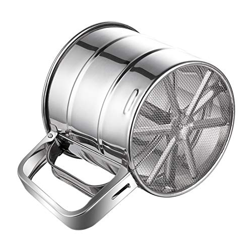 Flour Sifter, McoMce Stainless Steel Sifter for Baking, Double Layers Sifter, Powder Sugar Shaker with Hand Press Design, Flour Sifter for Baking in the kitchen