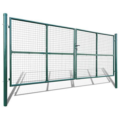 YVX Puerta de Malla para jardín, Barrera de jardín, Cerca de Malla para jardín, Patio o terraza, Estable y Duradera, 415 x 200 cm, Verde Oscuro