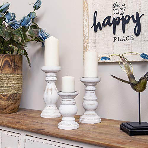 NIKKY HOME Candle Holder Set of 3 - Home Decor Wood Pillar Candle Stand, Mantle Decor Centerpieces for Fireplace, Living or Dining Room Table, Distressed White