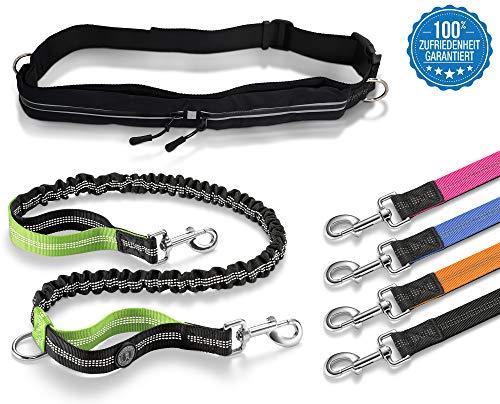 Thunderdog Jogging Hundeleine Sport Laufgürtel elastisch reflektierend 120cm Flexibel mit Bauchgurt mit 2-Taschen-Gurt (Grün)