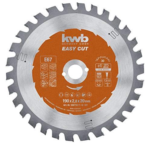 kwb Easy-Cut Kreissägeblatt für Handkreissägen 586733 (190 x 20 mm, 30 Zähne, Spezial-Wechselzahn, Allzweckblatt) u. a. für Kress 1500 KS