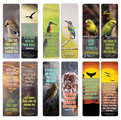 Creanoso Pet Bird Quote Animal Bookmarks (30-Pack) – Stocking Stuffers Gift for Pet Owners, Men, Women, Adult, Teens – Party Favors Supplies – Book Reading Reward – Great Giveaways for Bird Lovers