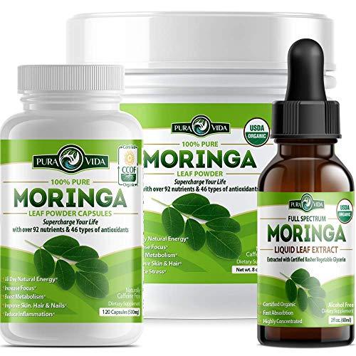 PURA VIDA Moringa Oleifera Combo Pack | Moringa Powder, Moringa Capsules and Moringa Extract Drops