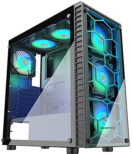 MUSETEX 6pcs ARGB Fans Pre-Installed, USB 3.0 Tempered Glass ATX Mid-Tower Chassis Gaming PC Case...