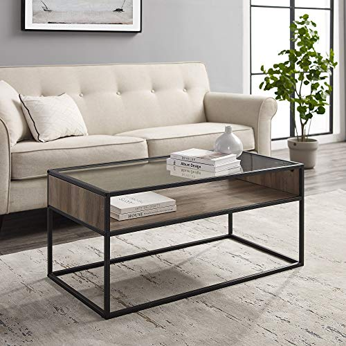WE Furniture Industrial Modern Wood Rectangle Open Shelf Coffee Accent Table Living Room, Grey Wash