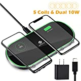 Dual-Wireless-Charger 5 Coils Qi Fast-Wireless Charging Pad Station 10W Wireless-Phone-Charger Cell Phone Wireless Charger Compatible with iPhone 8 X 11 Samsung Galaxy Note 18W USB C Adapter Included