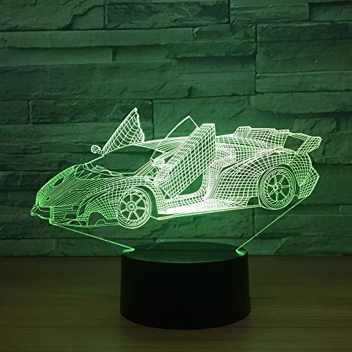 Coche deportivo 3D Lámpara de ilusión LED Luz nocturna Mesa de noche óptica Luces nocturnas 16 Cambio de color Botón táctil Decoración Lámparas de escritorio,