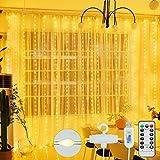 Cortina de Luces - 300 LED 3M*3M Luces Cortina Navidad USB con Control Remoto 8 Modos Impermeable Luz de Cortina para Casa Ventana Pared Boda Fiesta Decoración Navideña